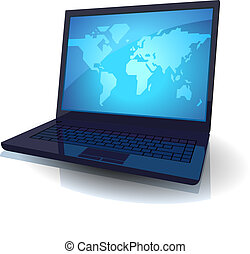 Laptop with blue map of the World