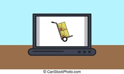 laptop with boxes delivery service animation