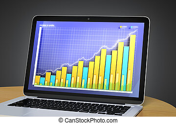 Laptop with business chart on the screen
