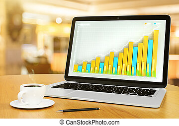 Laptop with business chart, pen and cup of coffee on a wooden table