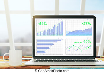Laptop with business graph on the wooden desk with cup of coffee in a sunny office