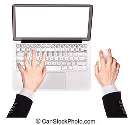 laptop with Businessman hand isolated