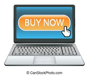 laptop with buy now button