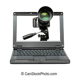 laptop with camera on tripod