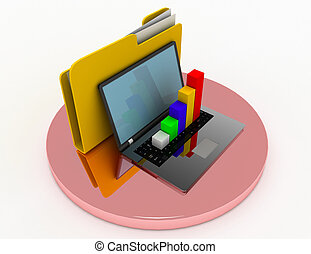 laptop with chart and file folder. 3d illustration