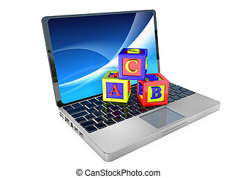 Laptop with Child's bricks