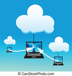 laptop with cloud