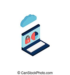 laptop with cloud computing icon