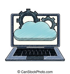 Laptop with cloud computing scribble