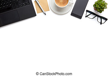 Laptop With Coffee Cup, Eyeglasses And Smartphone On Isolated White