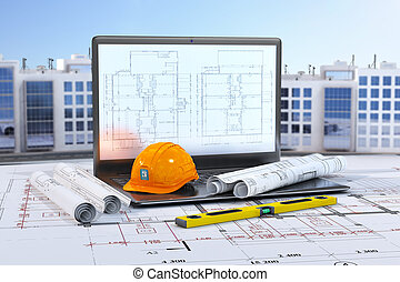 Laptop with construction tools and drawings on the background of residential buildings. 3d illustration