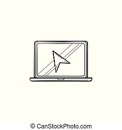 Laptop with cursor hand drawn outline doodle icon.