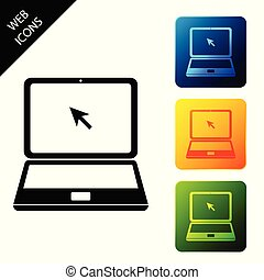 Laptop with cursor icon isolated. Set icons colorful square buttons. Vector Illustration