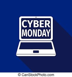 Laptop with Cyber Monday Sale text on screen flat icon long shadow. Vector Illustration
