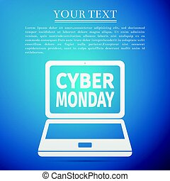 Laptop with Cyber Monday Sale text on screen flat icon over blue background. Vector Illustration