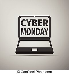 Laptop with Cyber Monday Sale text on screen flat icon over grey background.