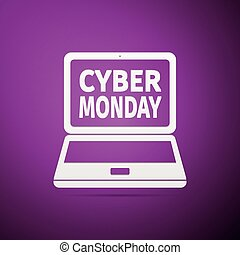 Laptop with Cyber Monday Sale text on screen flat icon over purple background. Vector Illustration