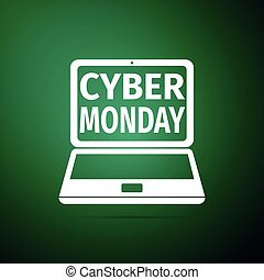 Laptop with Cyber Monday Sale text on screen icon isolated on green background. Flat design. Vector Illustration