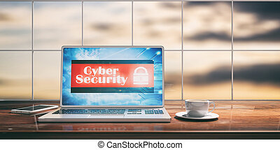 Laptop with cyber security screen on desk. Blurred sky background. 3d illustration