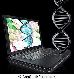 Laptop with dna medical model background on laptop screen. 3d illustration