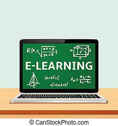 Laptop with e-learning concept on screen
