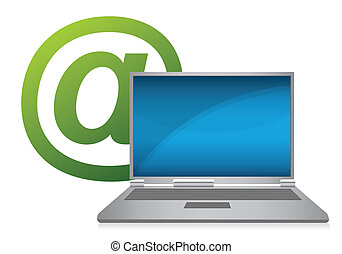 Laptop with e-mail symbol