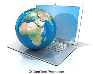 Laptop with earth globe Europe