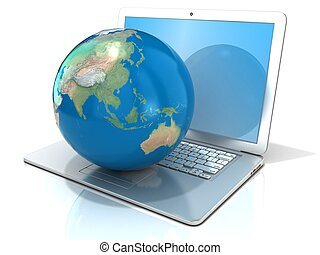 Laptop with earth globe Oceania