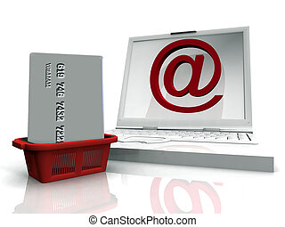Laptop with email sybol and shopping basked holding a credit...