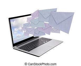 Laptop with envelopes