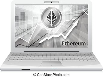 laptop with ethereum cryptocurrency icon in the bright rays ...