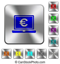 Laptop with Euro sign rounded square steel buttons