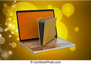 Laptop with file folder