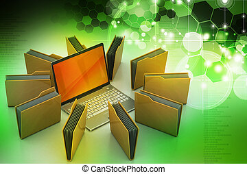 Laptop with file folder