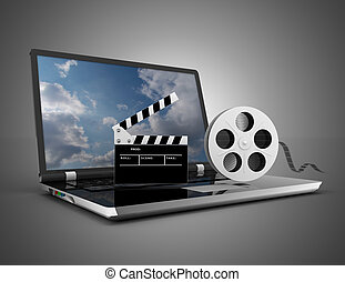laptop with film reel . 3d illustration