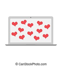 laptop with flying hearts. vector design illustration.