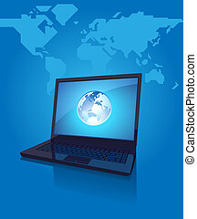 Laptop with globe on screen on blue background
