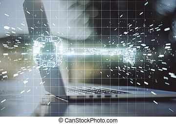 Laptop with glowing circuit key hologram.