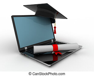 laptop with graduation cap . 3d rendered illustration