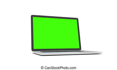 Laptop with green screen.