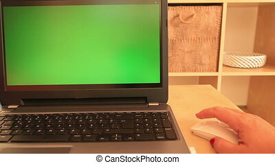 Laptop with green screen