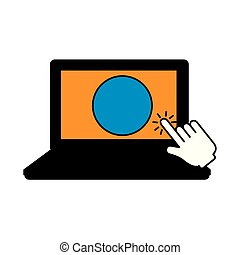laptop with hand cursor