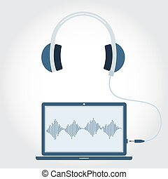 Laptop with headphone unplugged. Sound wave symbol showing...