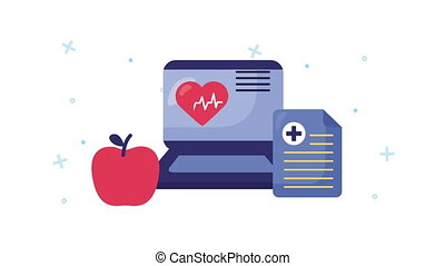 laptop with healthcare online and heart cardio ,4k video animated