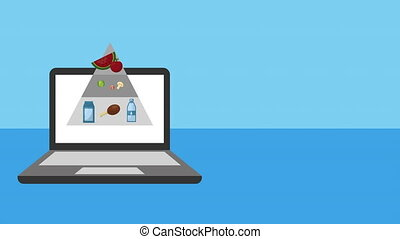 laptop with healthy food pyramid ,4k video animation
