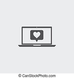 Laptop with heart icon in a flat design in black color. Vector illustration eps10