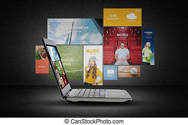 laptop with internet applications on screen