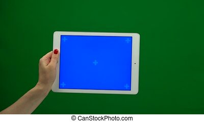 Laptop with isolated green screen