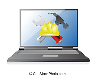laptop with issues and under construction sign