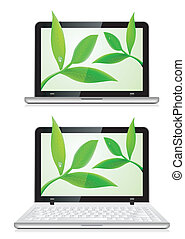Laptop with leaves on white background